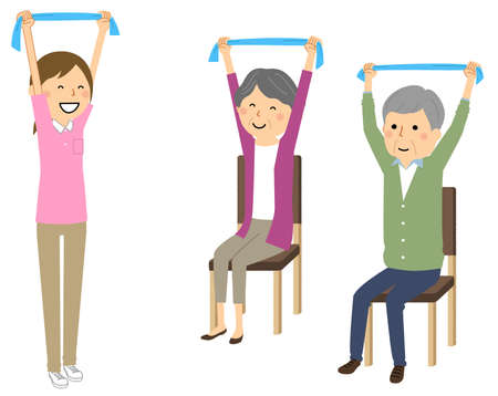 It is an illustration of an elderly person doing stretching exercises with a towel. Vektorové ilustrace