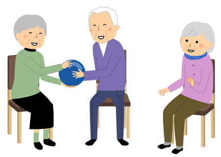 It is an illustration of an elderly person doing recreation.