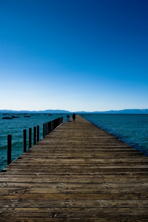 Long pier at Lake Tahoe, NV photo