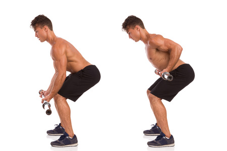 Muscular man showing a barbell row exercise, side view, step by step. Full length studio shot isolated on white.