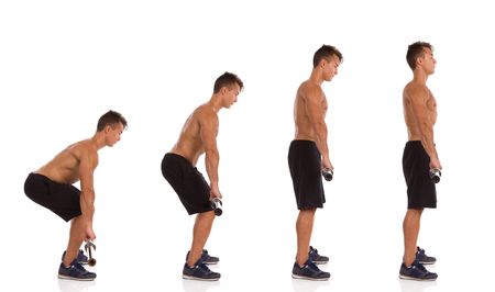 Muscular man making a deadift exercise, side view, step by step.  Full length studio shot isolated on white.
