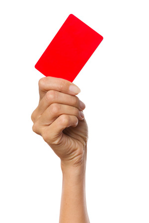 hand holding card: Close up of womans hand holding red card. Studio shot isolated on white.