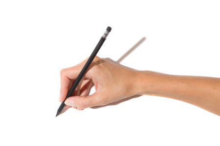holding close: Close up of womans hand holding black pencil with rubber. Studio shot on white background with shadow.