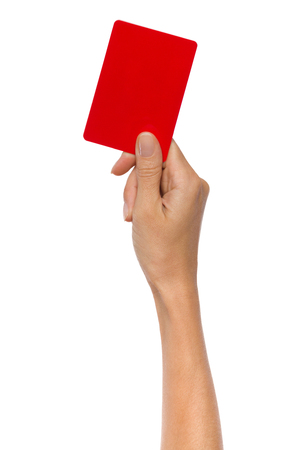 Close up of womans hand holding red card. Studio shot isolated on white.