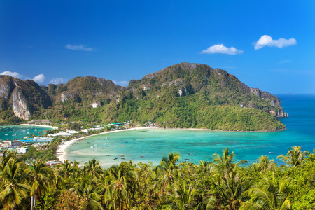 phi phi: Panoramic view from viewpoint at Phi Phi Island Thailand Stock Photo