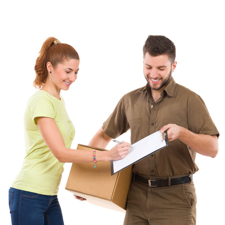 waist shot: Woman receives a package and sign a document. Waist up studio shot isolated on white.