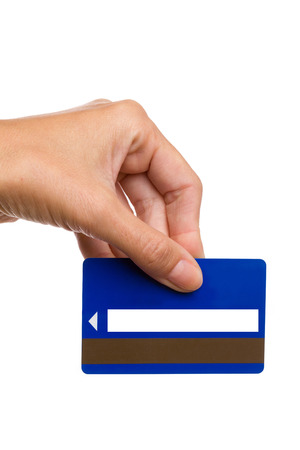 cardkey: Close up of womans hand holding blue magnetic cardkey. Studio shot isolated on white.