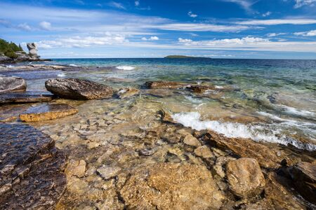 View Of Lake Huron From Stony Beach Of Flowerpot Island. Ontario, Canada
