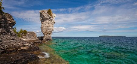 View Of Huron Lake And Rock Formation From Flowerpot Island. Ontario, Georgian Bay, Canada