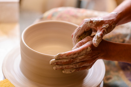 to woman potter pottery hands Stock fotó