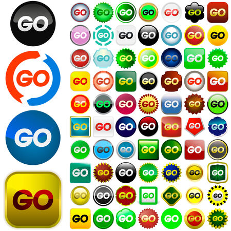 GO icon. Vector set. Stock Vector - 6084417