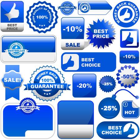 hot announcement: Conjunto de elementos de dise�o para la venta. Colecci�n azul. Vectores