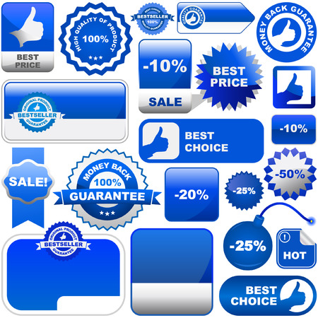 Set of design elements for sale. Blue collection. Vector