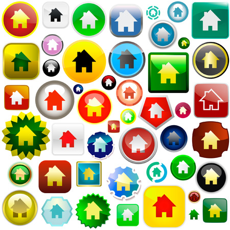 Home icons. Graphic elements set. Stock Vector - 6084343