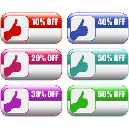 Discount label templates with different percentages Stock Vector - 6084108