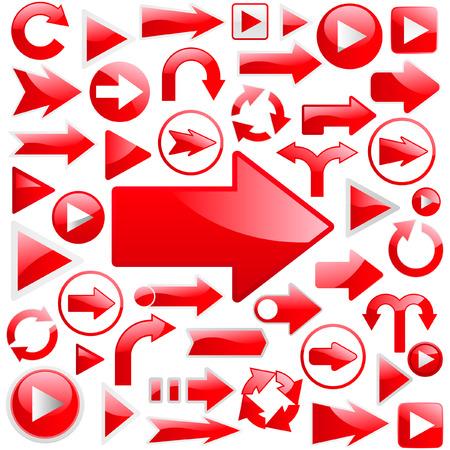 directions: Een vector set nuttig pijlen. Grote collectie.   Stock Illustratie