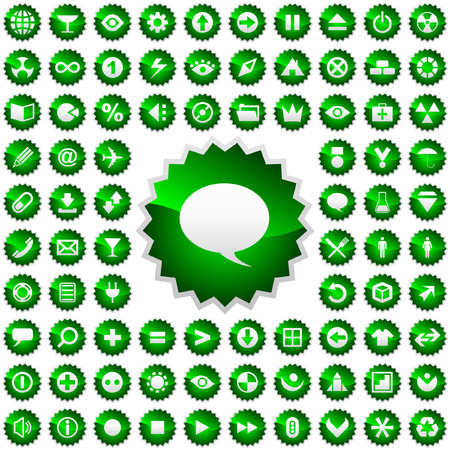 Vector green icon set Stock Vector - 6084312