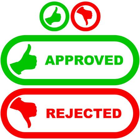 coincidir: Iconos aprobados y rechazados.