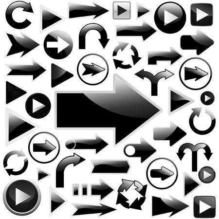 A vector set of black arrows.    Vector