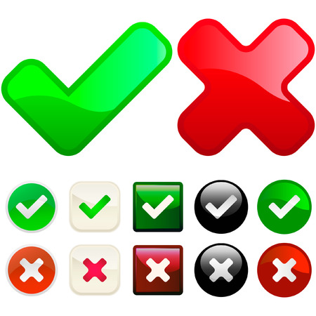 incorrect: Approved and rejected buttons. Vector set.