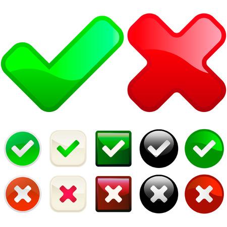Botones aprobados y rechazados. Conjunto de vectores