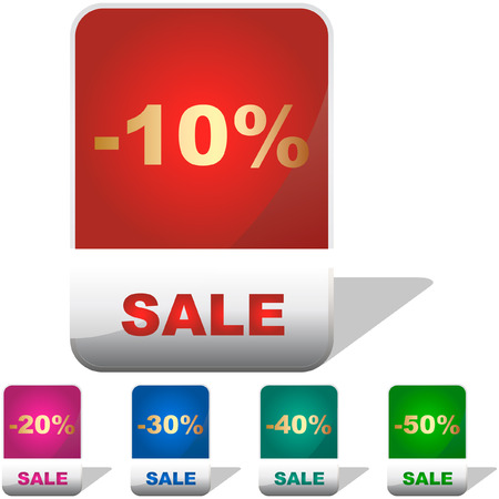 Discount banner templates with different percentages Stock Vector - 6084028