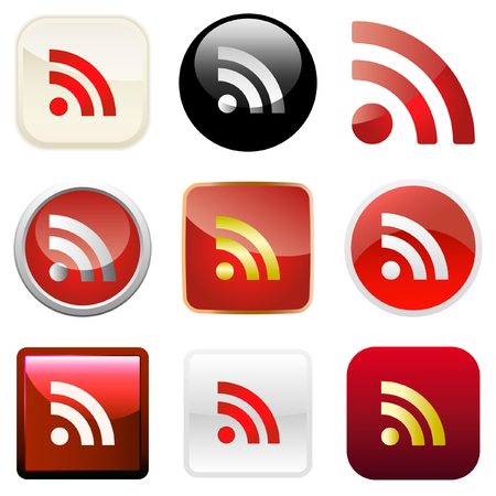 syndication: RSS glossy buttons. Vector illustration.