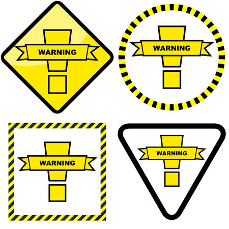 Warning vector label. Vector template.    Stock Vector - 6083851