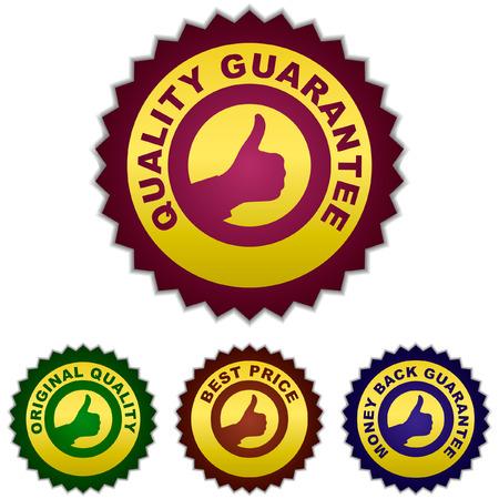 guaranree: Guarantee labels. Vector set.