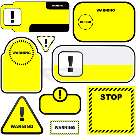 Warning vector banners. Vector template.    Vector
