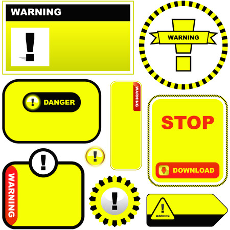 Warning vector labels. Vector template.    Vector