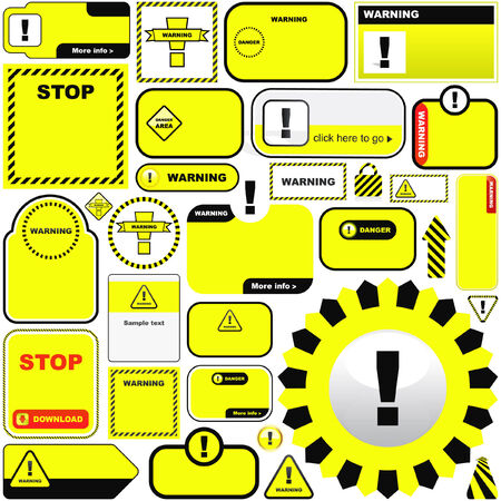 Warning vector label. Great collection.   Vector