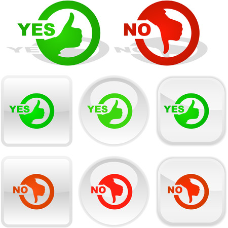 Yes and No icon. Vector beautiful icon set. Stock Vector - 6084895