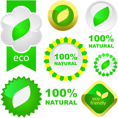 Set of natural labels. Stock Vector - 6084887