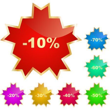 reduced: Discount label templates with different percentages