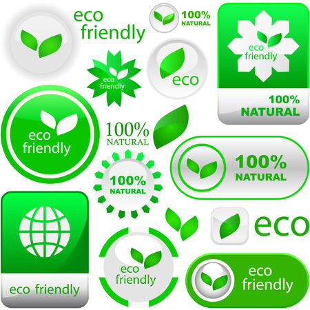 Set of eco friendly, natural and organic labels. Great collection.   Stock Vector - 6085158