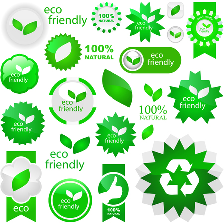 Set of eco friendly, natural and organic labels. Stock Vector - 6085234