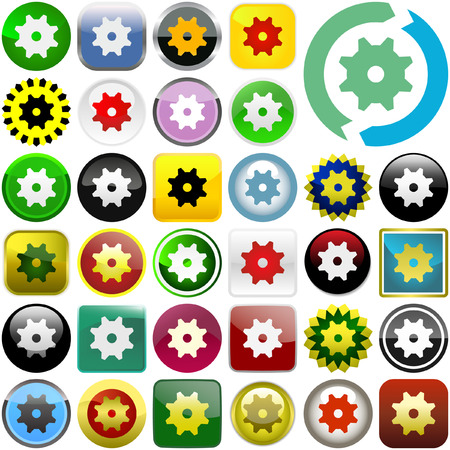 gearshift: Gear vector button. Vector set.