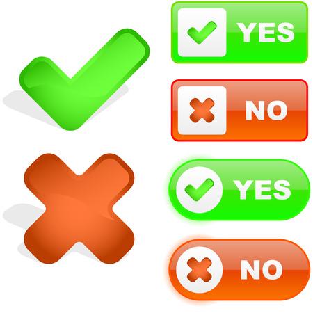 Sí y no icono. Hermoso icono conjunto de vectores.