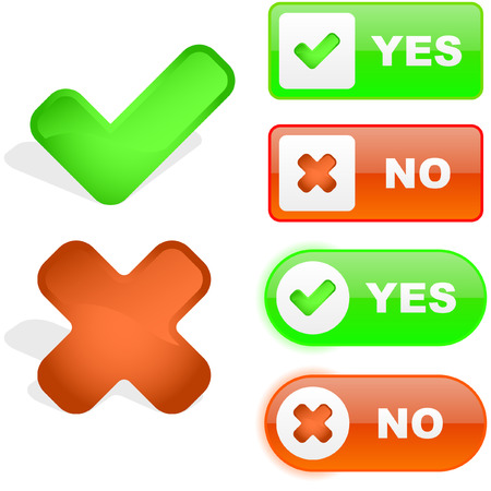 vote button: Yes and No icon. Vector beautiful icon set.