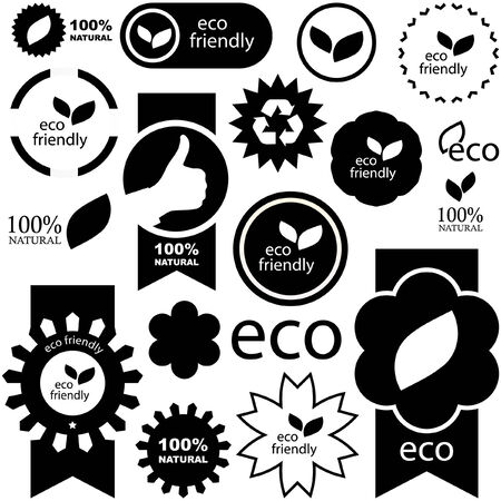Set of black natural labels.   Vector