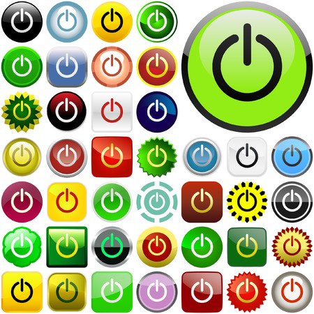 Vector power buttons for web   Vector