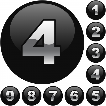 6 7: Number buttons. Vector set.
