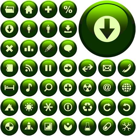 Green icon set Stock Vector - 6085077