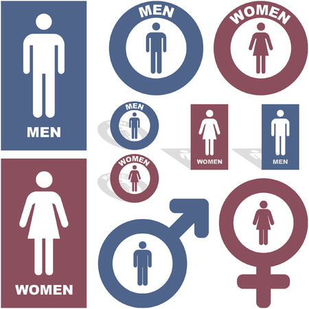 Icone di uomini e donne. Insieme di elementi grafici.
