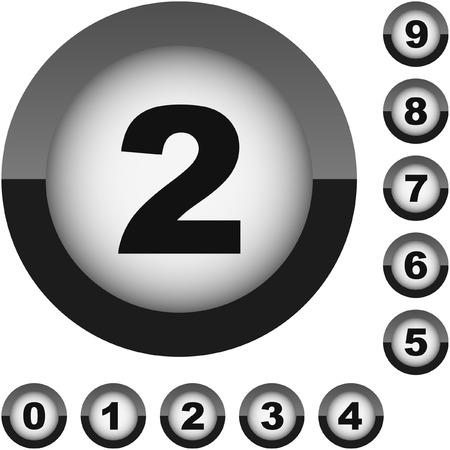 six web website: Number icons. Black set.    Illustration