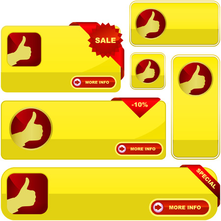 Vector banners for web. Gold collection. Vector
