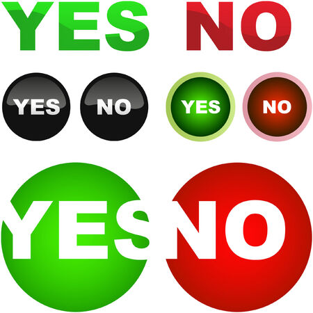 Yes and No icon. Vector beautiful icon set. Stock Vector - 6084680