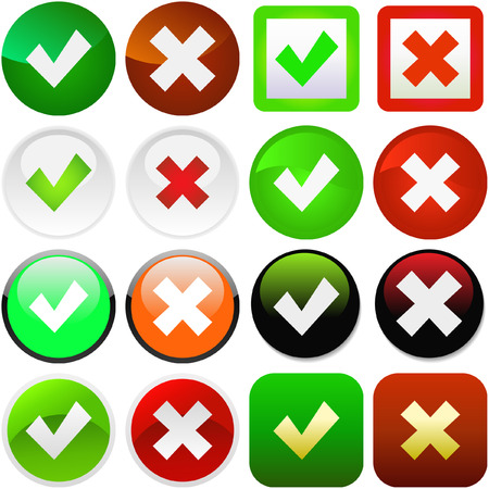Approved and rejected buttons. Vector set. Stock Vector - 6084953