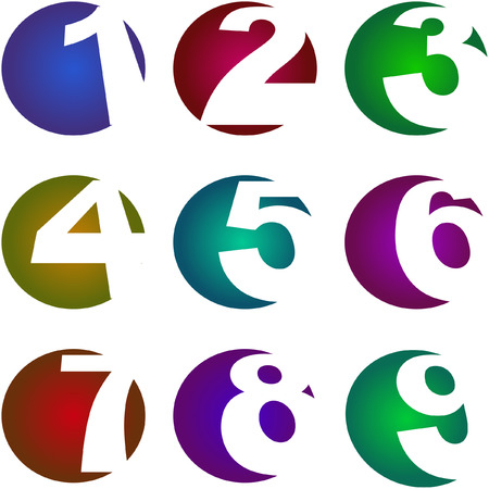 6 7: Number icons. Vector set.